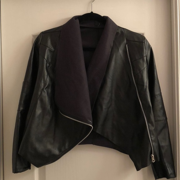 Jackets & Blazers - Vintage Faux Black Leather Jacket |Size 2-4|
